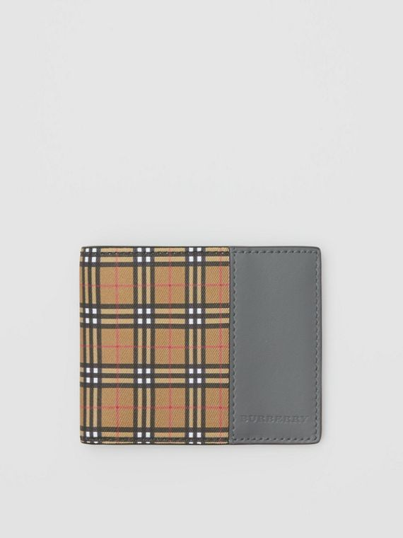 Small Scale Check and Leather Bifold Wallet in Antique Yellow/dark Grey