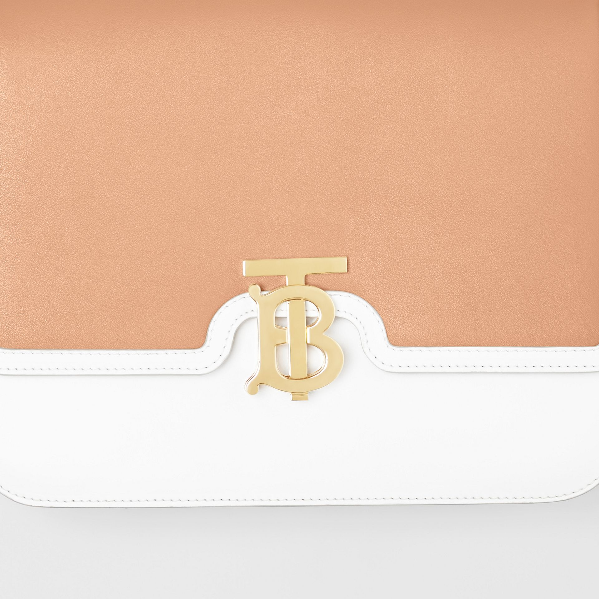 Medium Two-tone Leather TB Bag in Chalk White/light Camel - Women | Burberry - gallery image 1