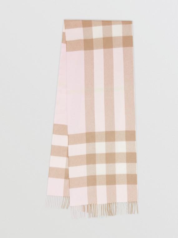 Sciarpa in cashmere con motivo tartan (Rosa Alabastro)