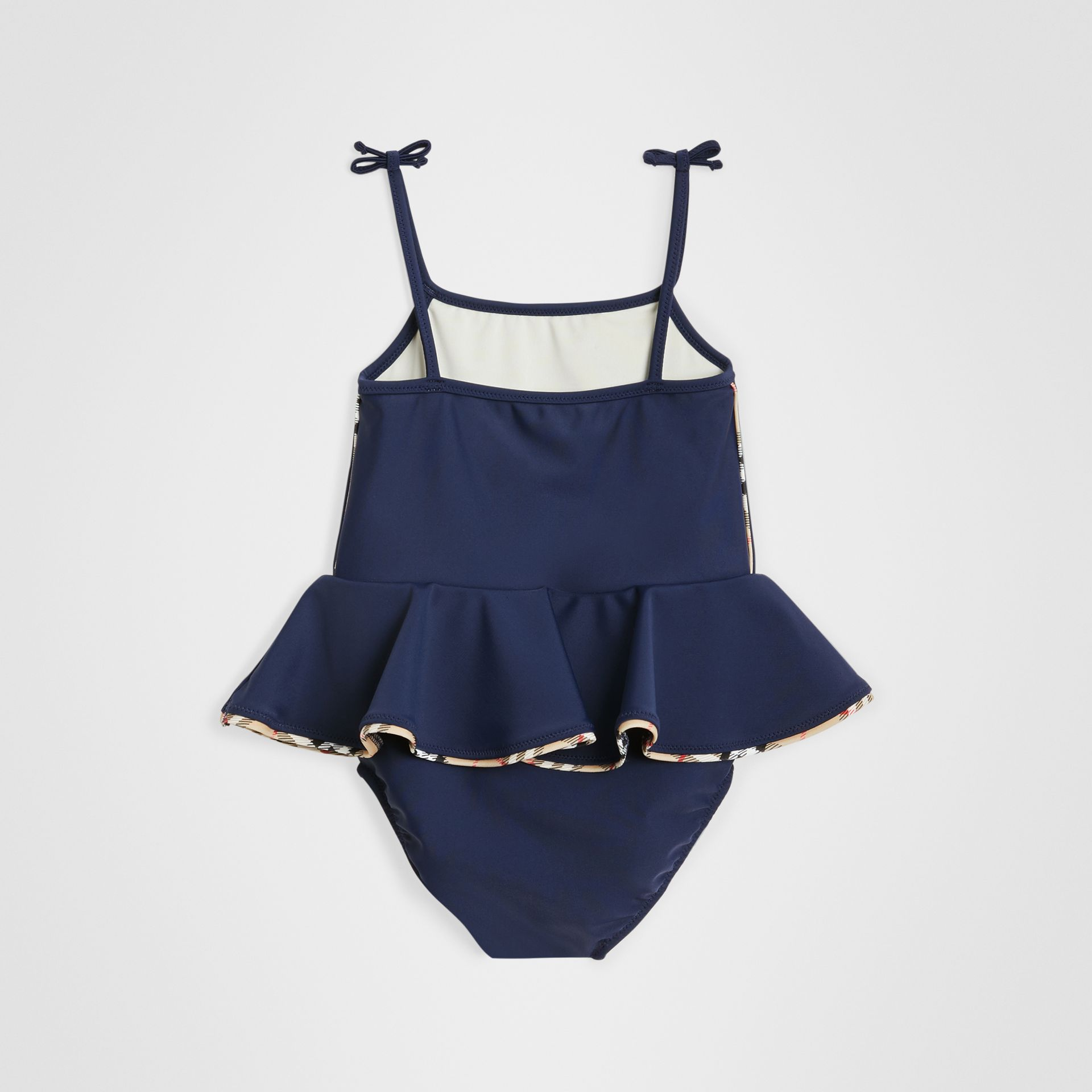 Check Detail Peplum One-piece Swimsuit in Navy - Children | Burberry Canada - gallery image 2