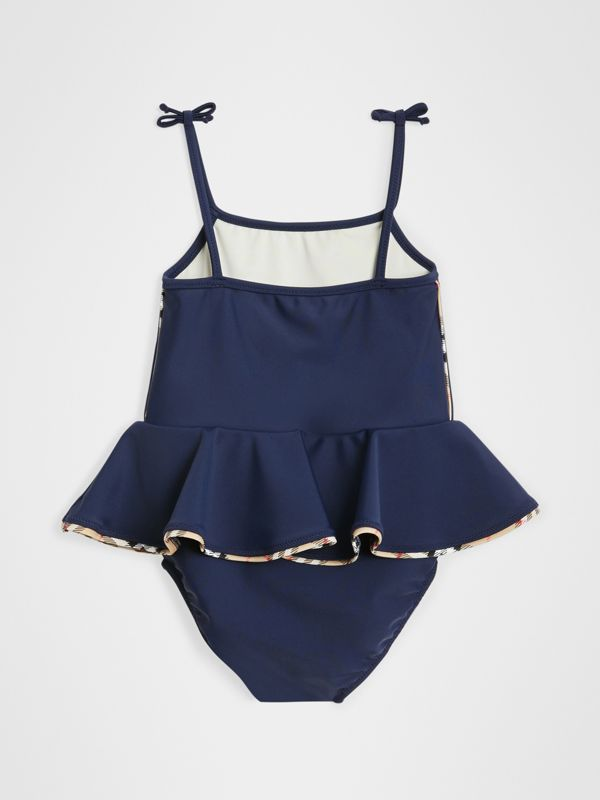 Check Detail Peplum One-piece Swimsuit in Navy - Children | Burberry - cell image 2