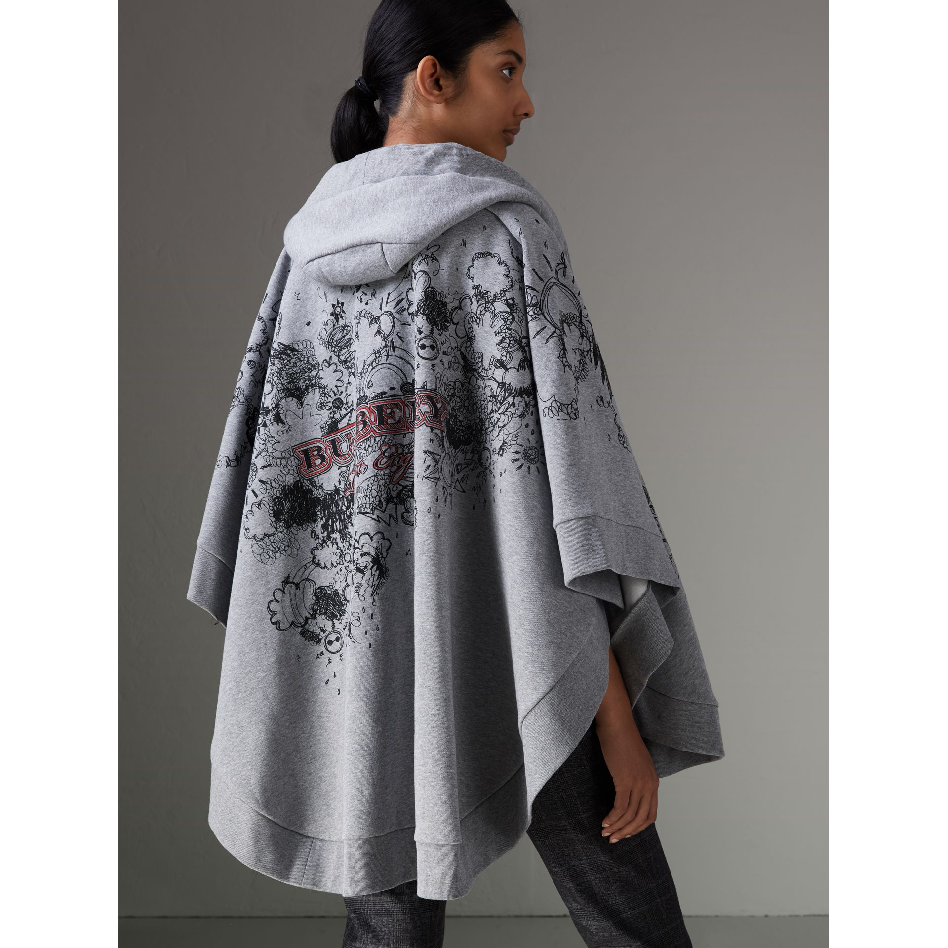 Doodle Print Jersey Hooded Cape in Pale Grey Melange - Women | Burberry - gallery image 2