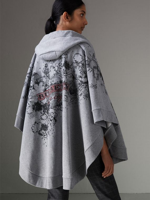 Doodle Print Jersey Hooded Cape in Pale Grey Melange - Women | Burberry - cell image 2