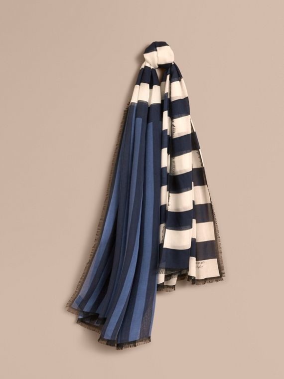 Contrast Stripe Cashmere Silk Scarf in Indigo