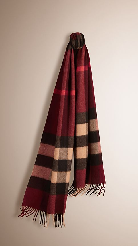 Claret check Giant Exploded Check Cashmere Scarf - Image 1