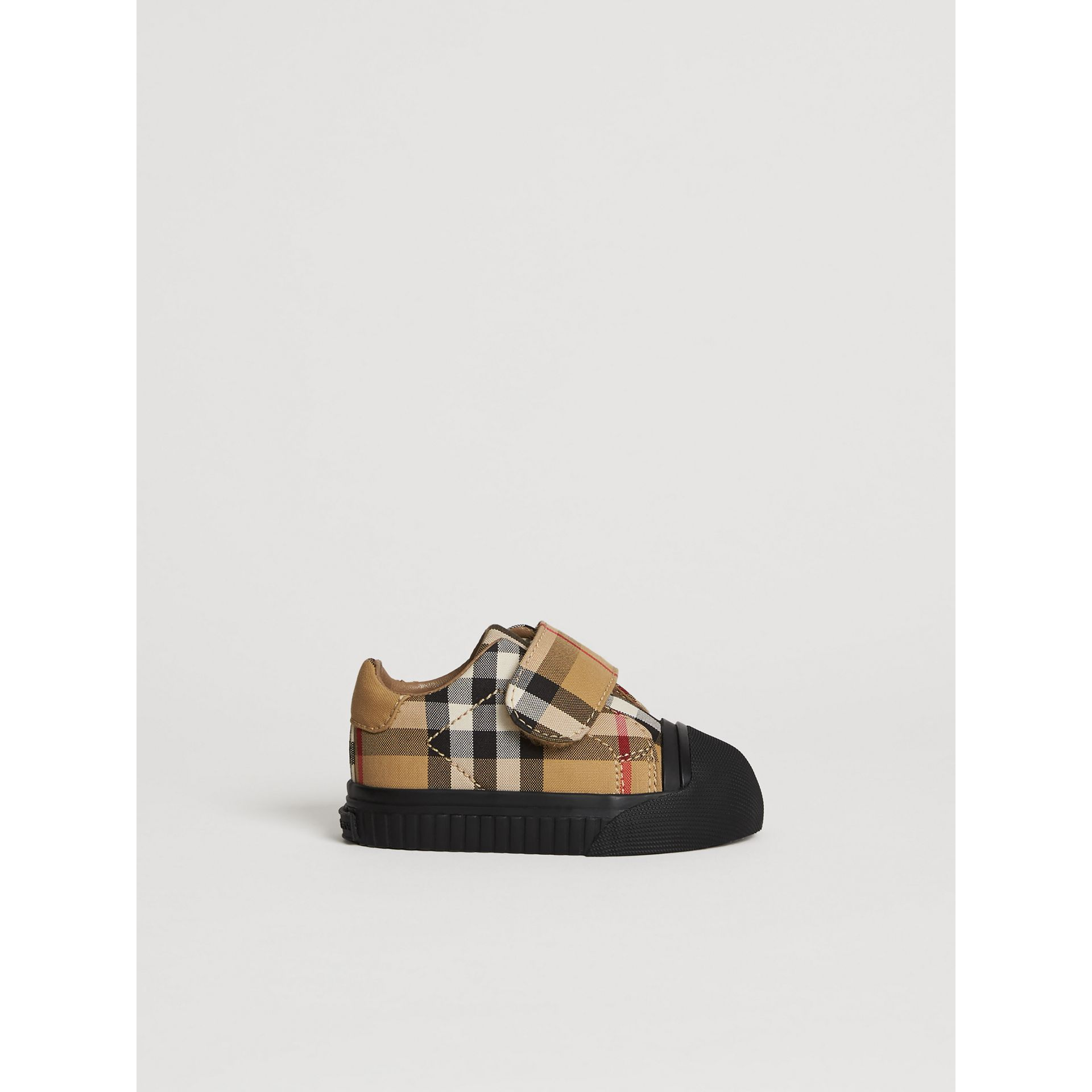 Vintage Check and Leather Sneakers in Antique Yellow/black - Children | Burberry Australia - gallery image 3