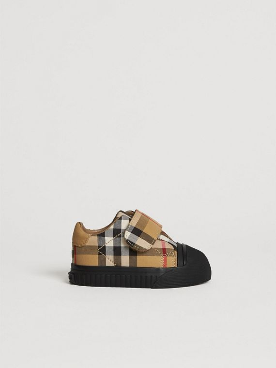 Vintage Check and Leather Sneakers in Antique Yellow/black | Burberry Singapore - cell image 3
