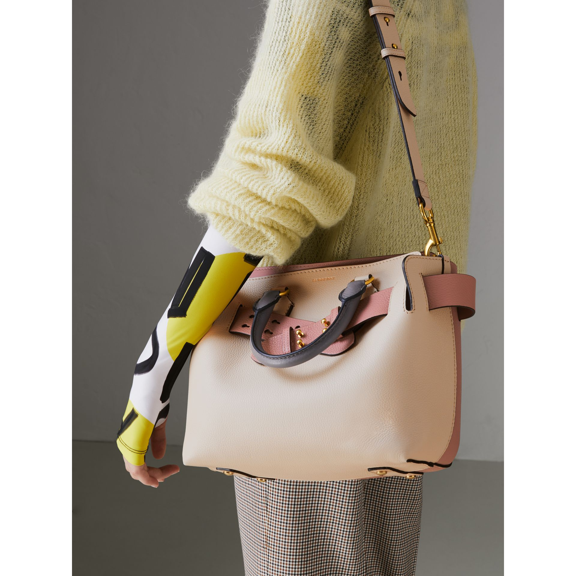 The Small Tri-tone Leather Belt Bag in Limestone/dusty Rose - Women | Burberry Singapore - gallery image 3