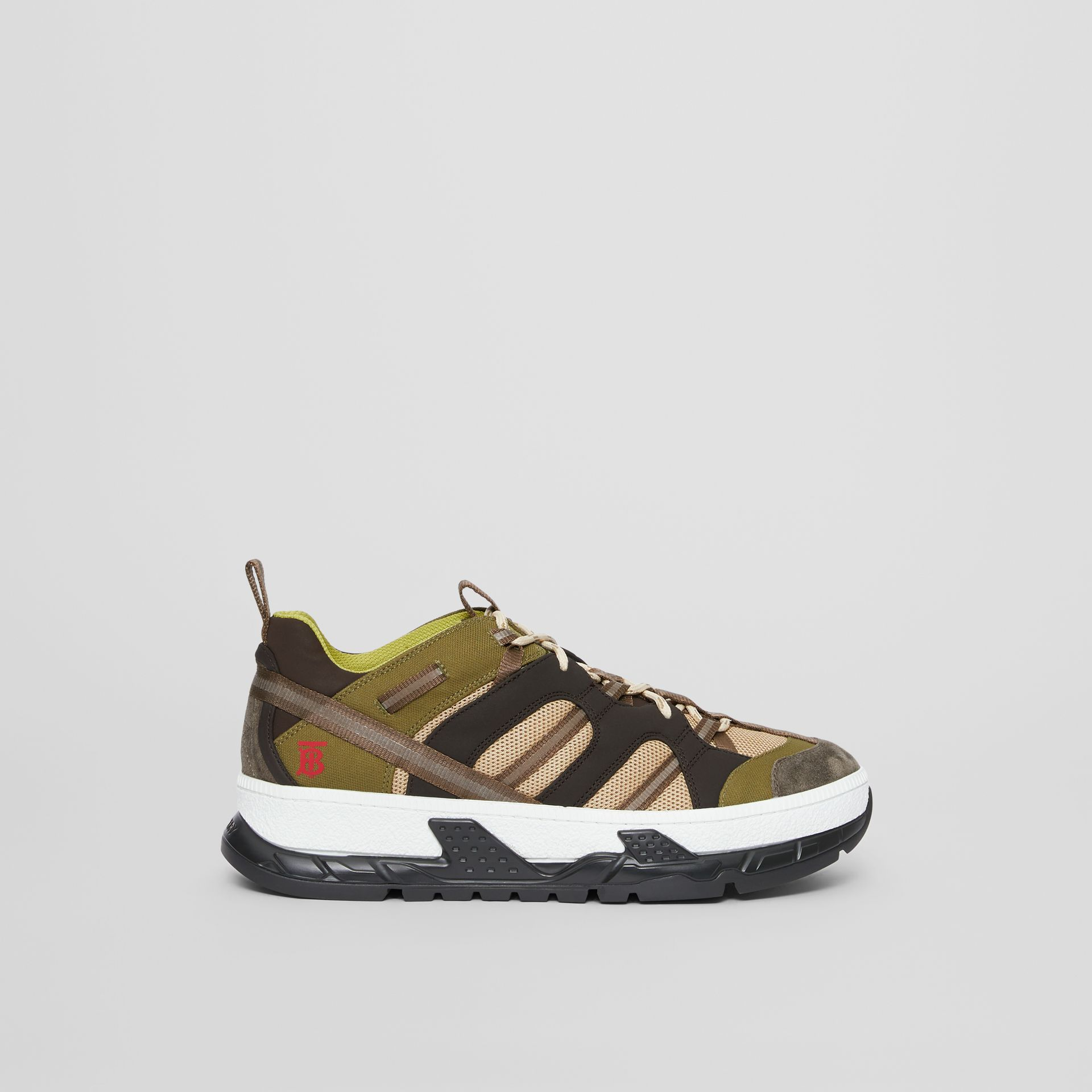 Mesh and Suede Union Sneakers in Khaki / Brown - Men | Burberry Australia - gallery image 4