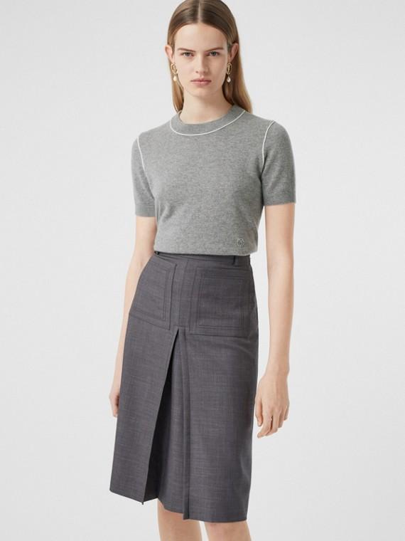 Short-sleeve Monogram Motif Cashmere Top in Grey Melange