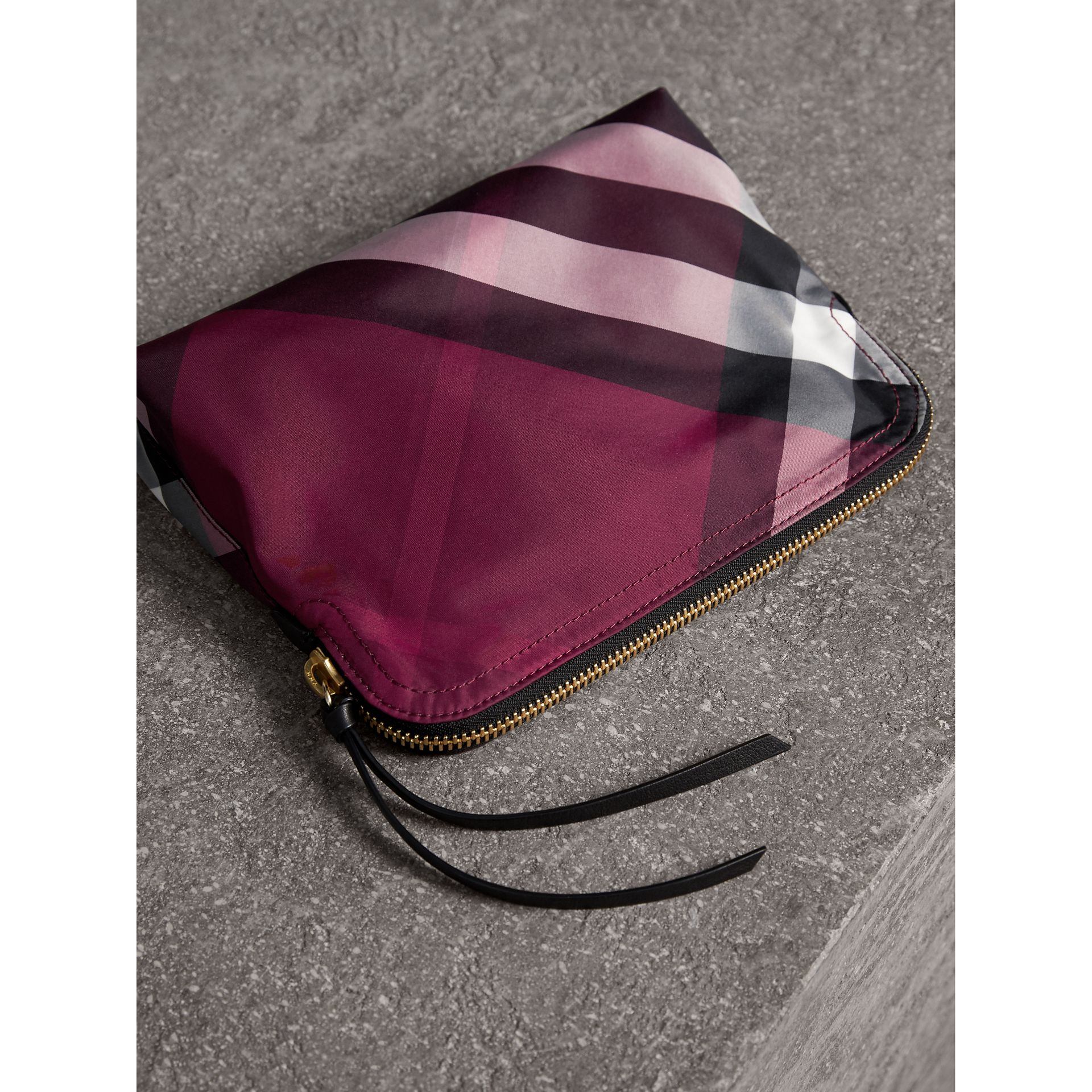 Large Zip-top Check Pouch in Plum - Women | Burberry - gallery image 3