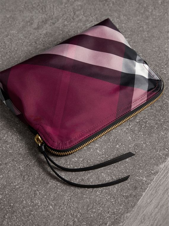 Large Zip-top Check Pouch in Plum - Women | Burberry - cell image 2