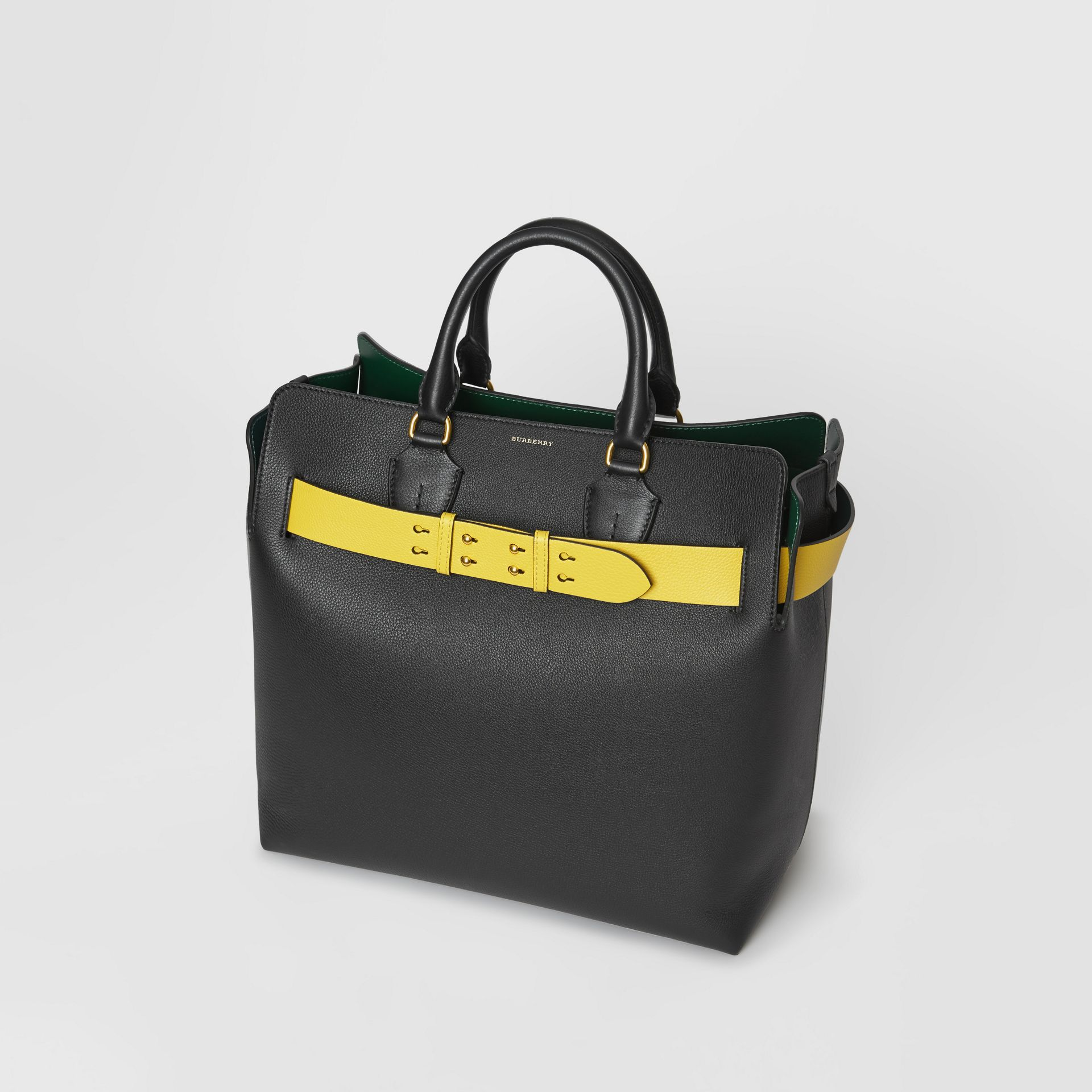 The Large Leather Belt Bag in Black/yellow | Burberry - gallery image 4