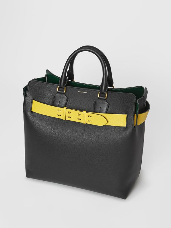 The Large Leather Belt Bag in Black/yellow | Burberry - cell image 3