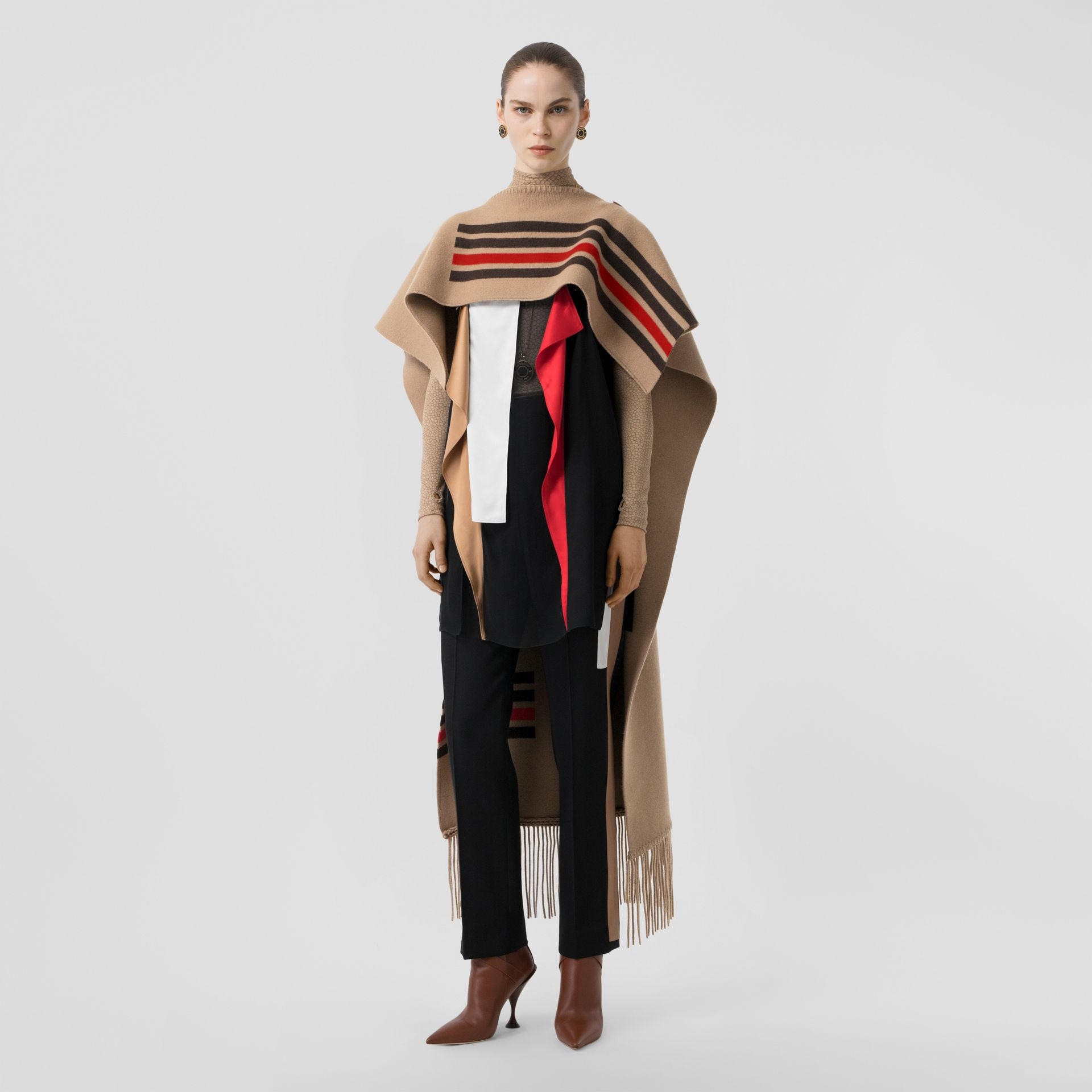 Striped Wool Cashmere Blend Cape in Camel - Women | Burberry Singapore - gallery image 0