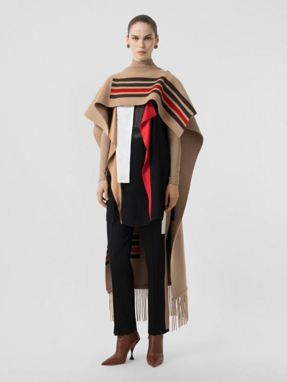 Striped Wool Cashmere Blend Cape in Camel