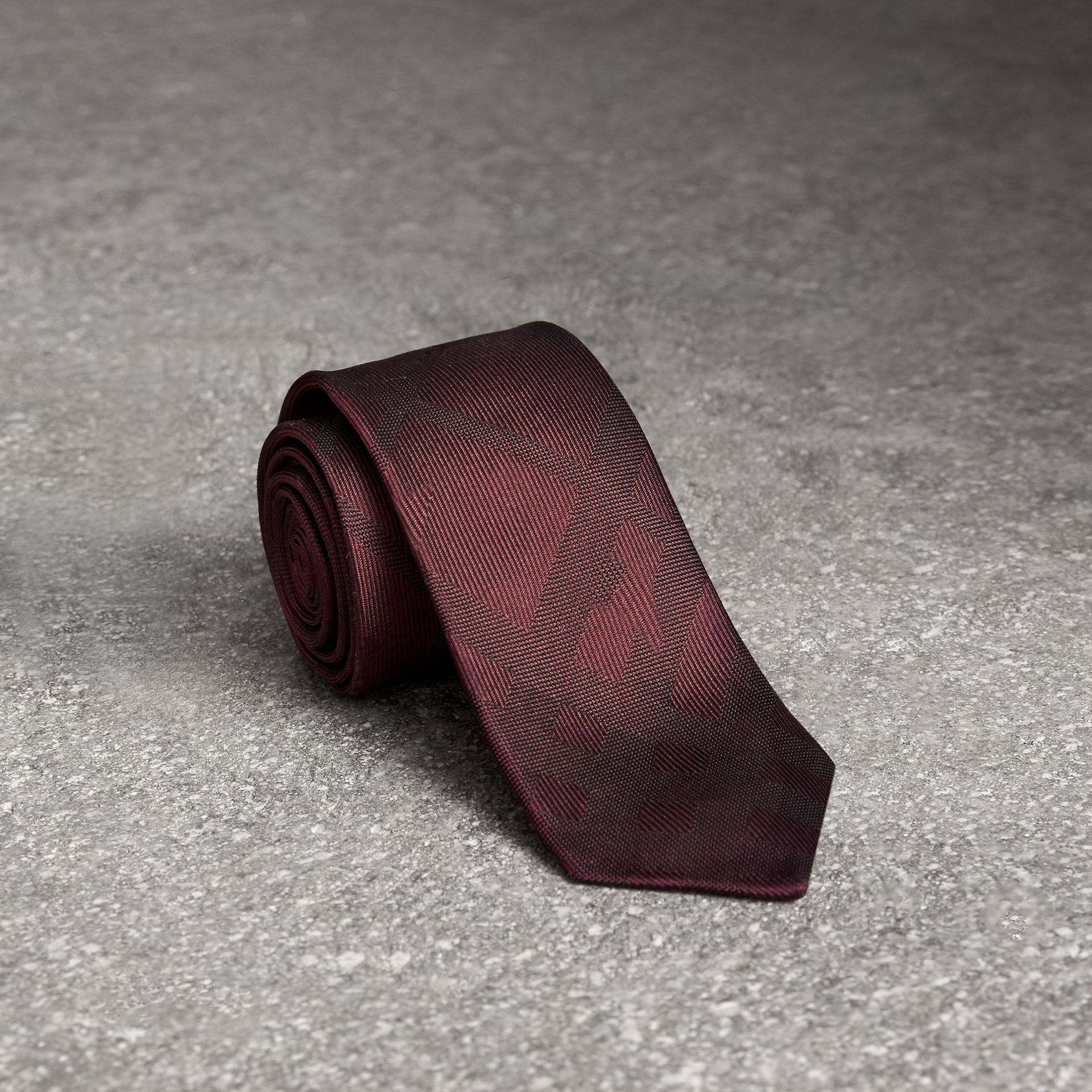 Slim Cut Check Silk Tie in Deep Claret - Men | Burberry - gallery image 0