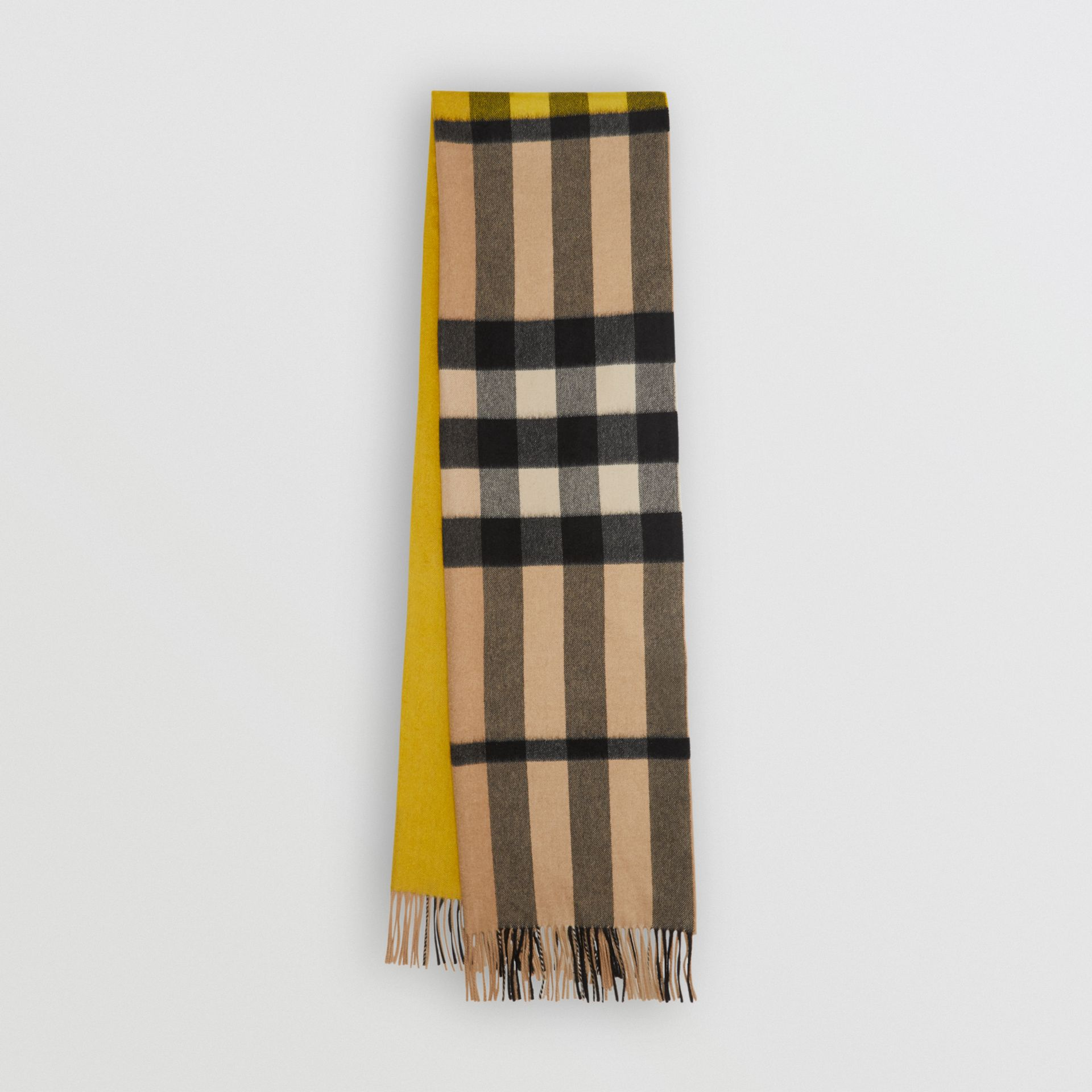 Colour Block Check Cashmere Scarf in Gorse Yellow | Burberry United Kingdom - gallery image 0