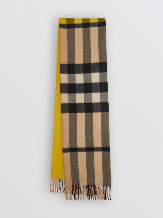 Colour Block Check Cashmere Scarf in Gorse Yellow