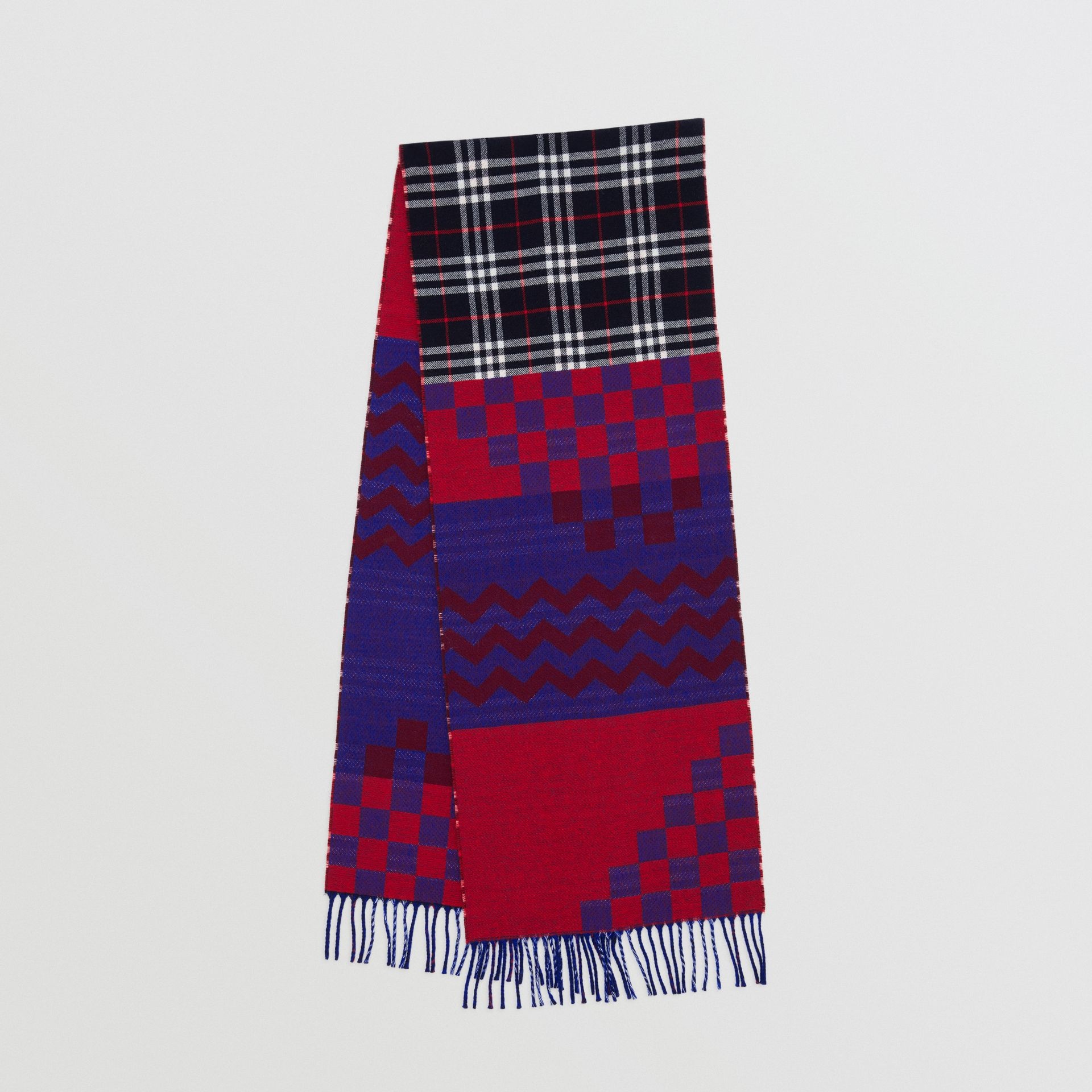 Reversible Graphic and Check Wool Cashmere Scarf in Navy | Burberry United Kingdom - gallery image 0
