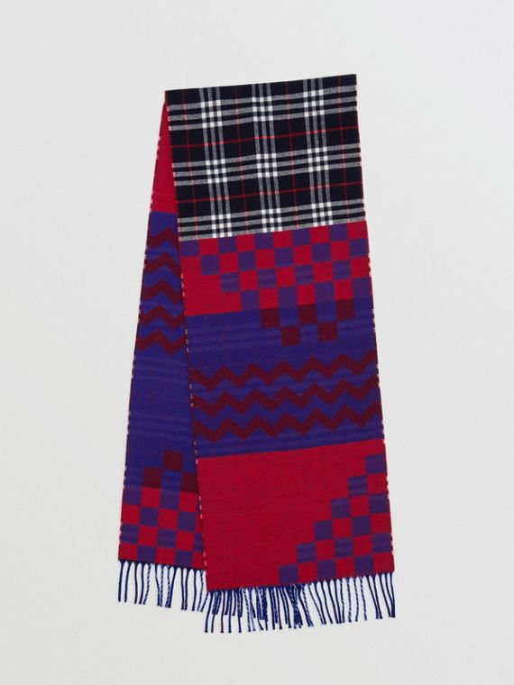 Reversible Graphic and Check Wool Cashmere Scarf in Navy