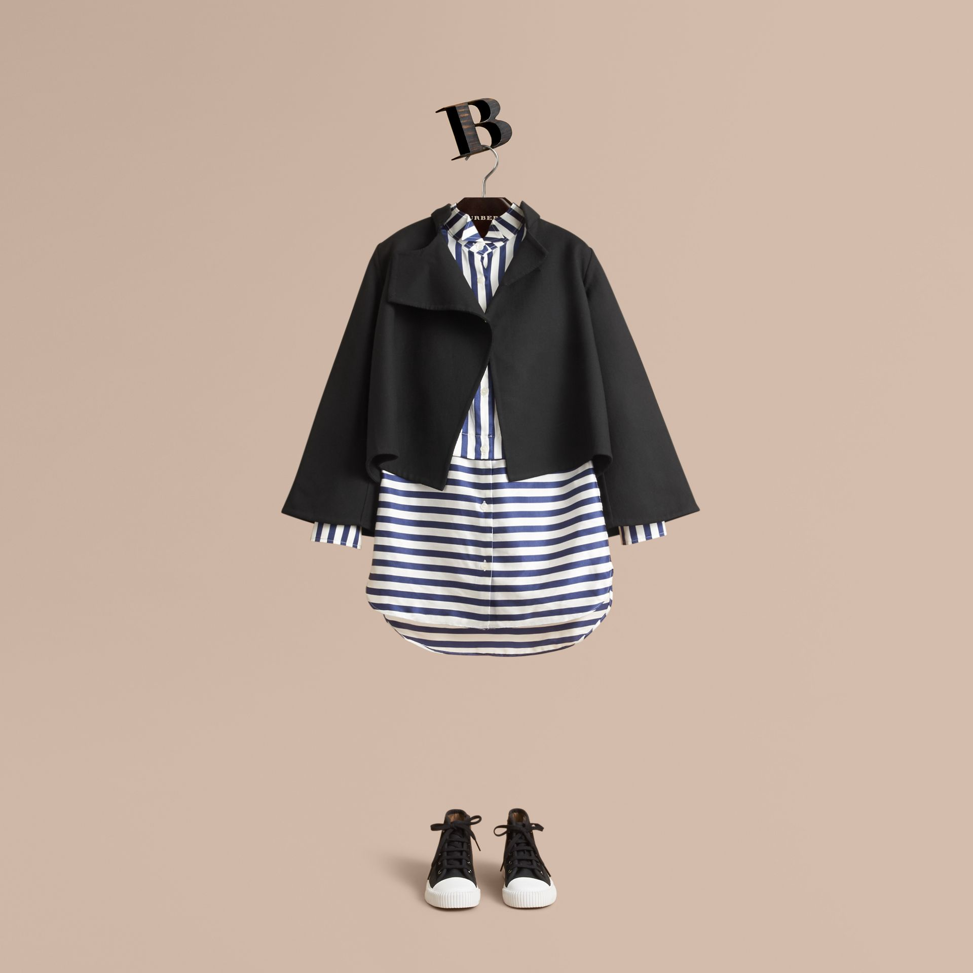 Striped Silk Cotton Shirt Dress - gallery image 3