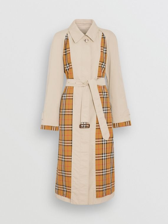 Vintage Check and Tropical Gabardine Car Coat in Stone