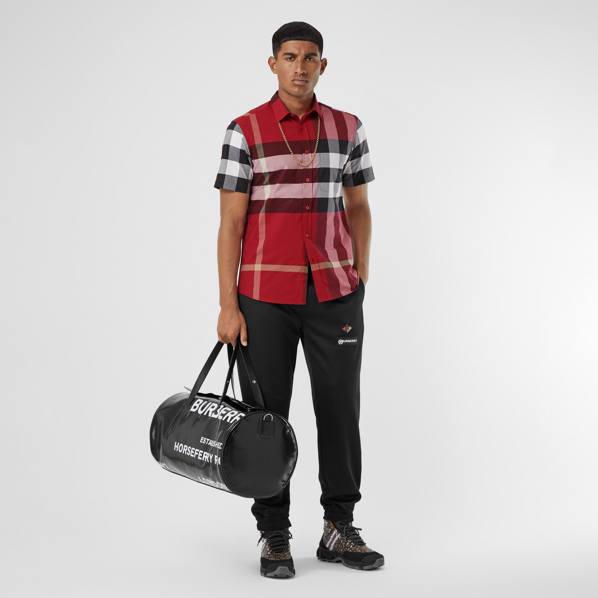 Short-sleeve Check Stretch Cotton Poplin Shirt in Parade Red - Men | Burberry - 1