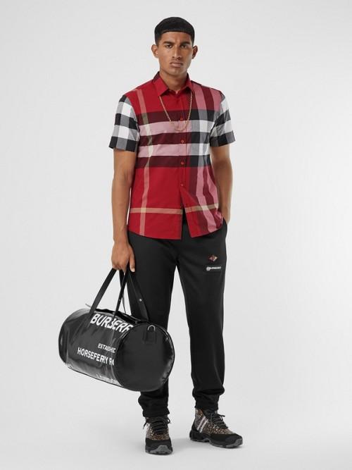 Burberry Cottons Short-sleeve Check Stretch Cotton Poplin Shirt