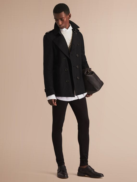 The Kensington – Short Heritage Trench Coat in Black