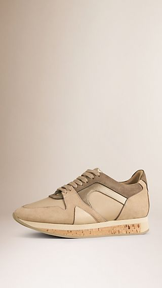 The Field Sneaker in Suede and Mesh Light Nude