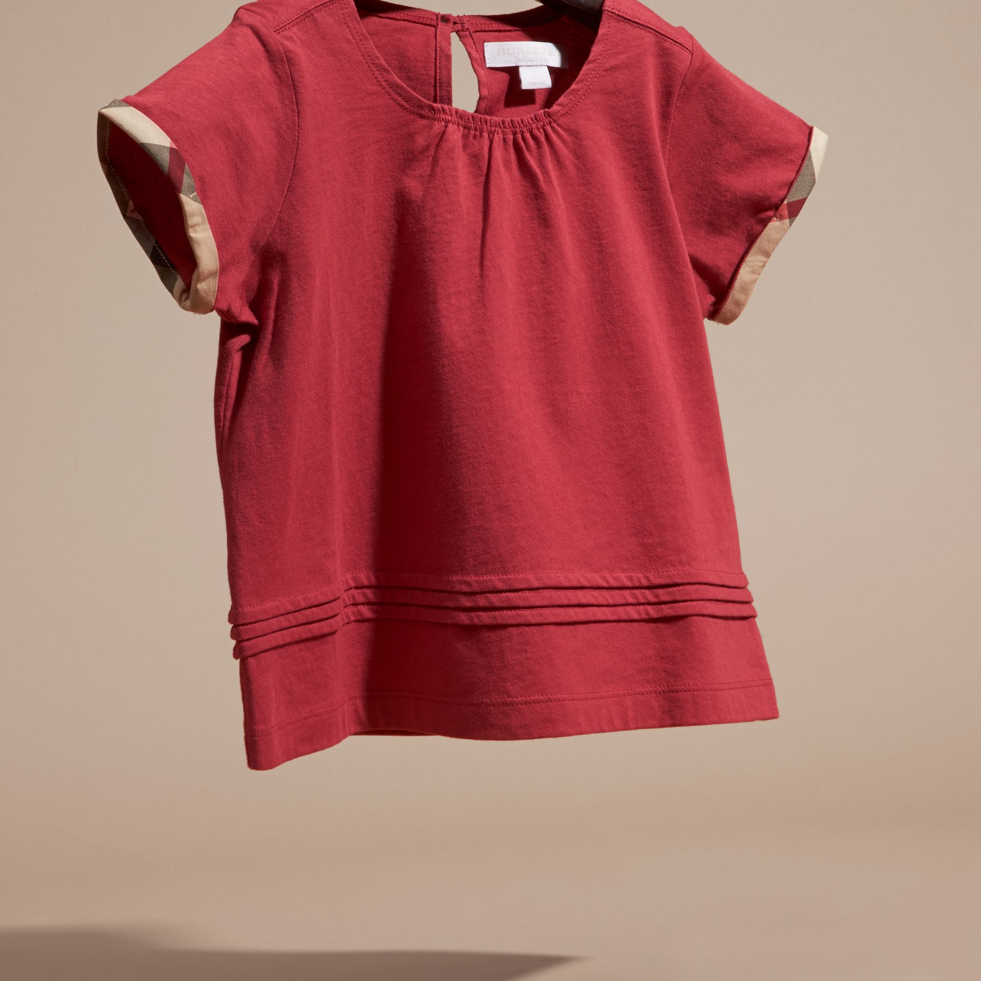 Dark plum pink Pleat Detail Check Cotton T-Shirt Dark Plum Pink - gallery image 3