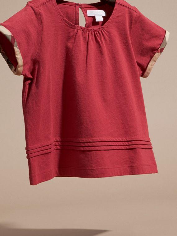 Dark plum pink Pleat Detail Check Cotton T-Shirt Dark Plum Pink - cell image 2