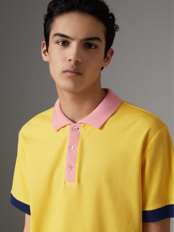 Two-tone Stripe Knitted Detail Cotton Polo Shirt in Saffron Yellow - Men | Burberry - cell image 1