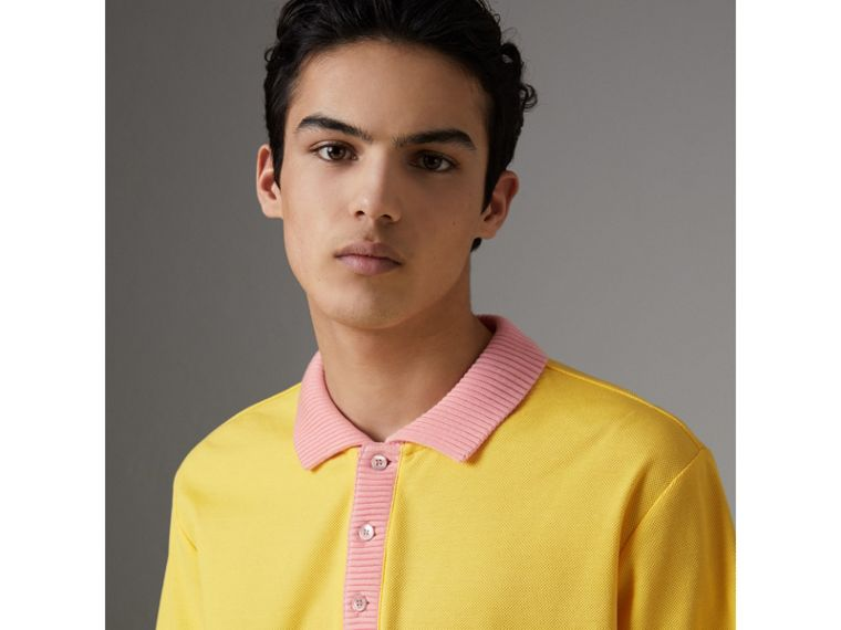 Two-tone Stripe Knitted Detail Cotton Polo Shirt in Saffron Yellow - Men | Burberry United States - cell image 1