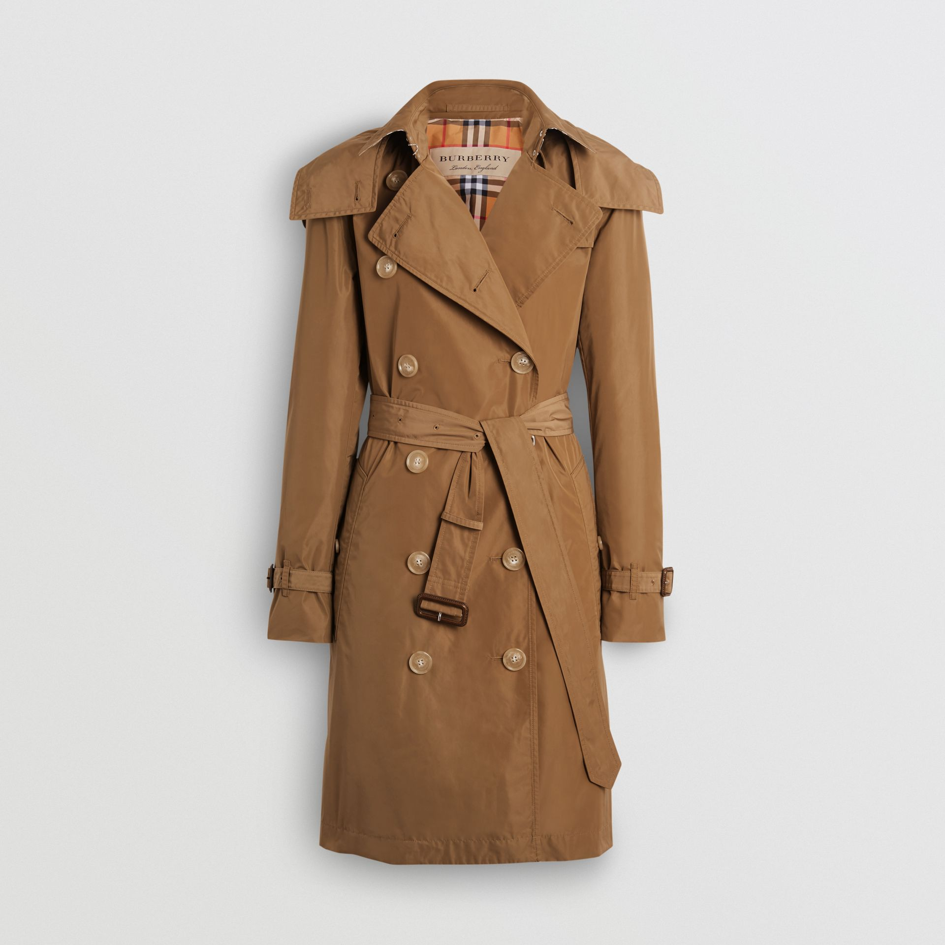 Detachable Hood Taffeta Trench Coat in Camel - Women | Burberry Canada - gallery image 3