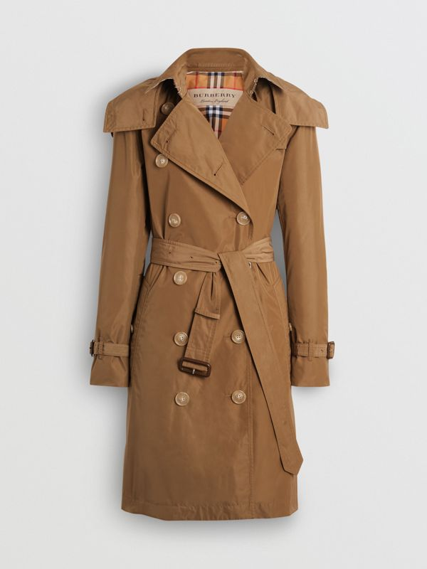 Detachable Hood Taffeta Trench Coat in Camel - Women | Burberry Australia - cell image 3