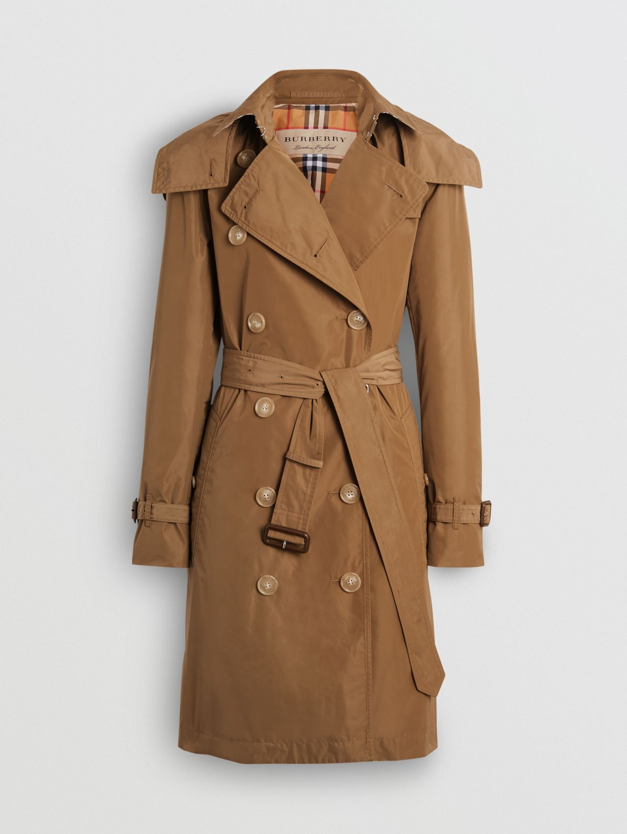 Trench coat de tafetá com capuz removível in Camel