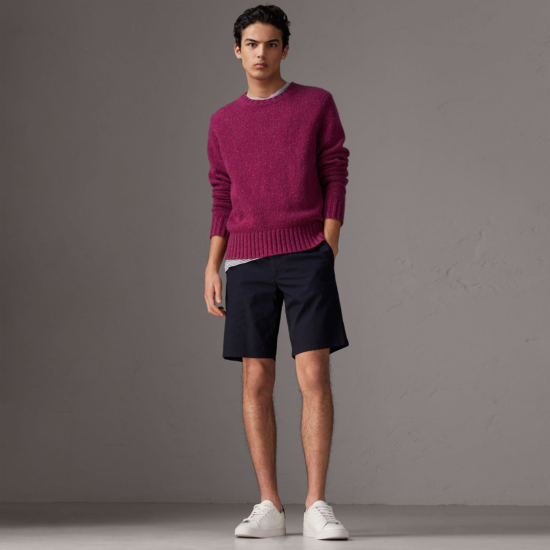 Cotton Twill Chino Shorts in Ink - Men | Burberry Australia - gallery image 0