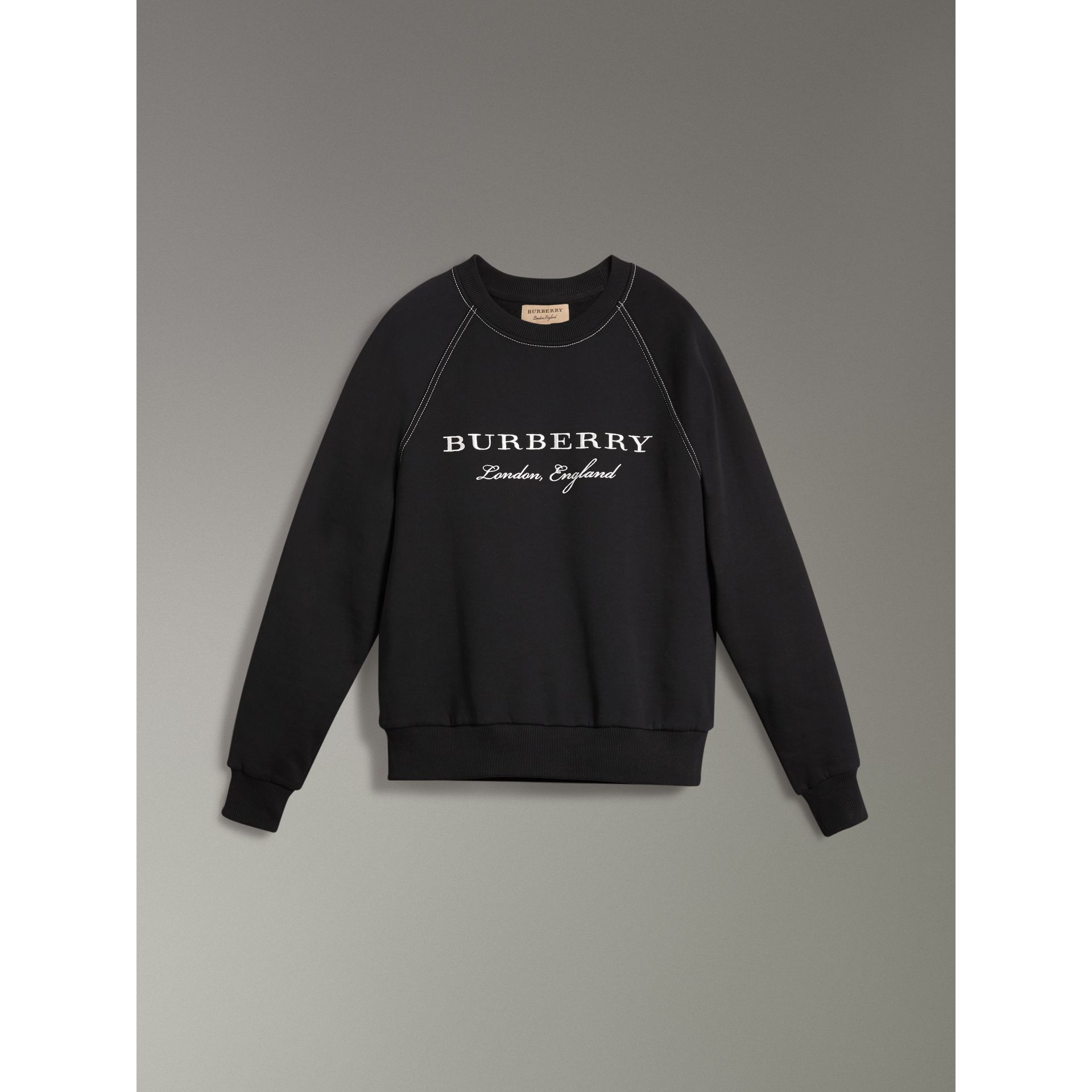 Embroidered Jersey Sweatshirt in Black - Men | Burberry - gallery image 3