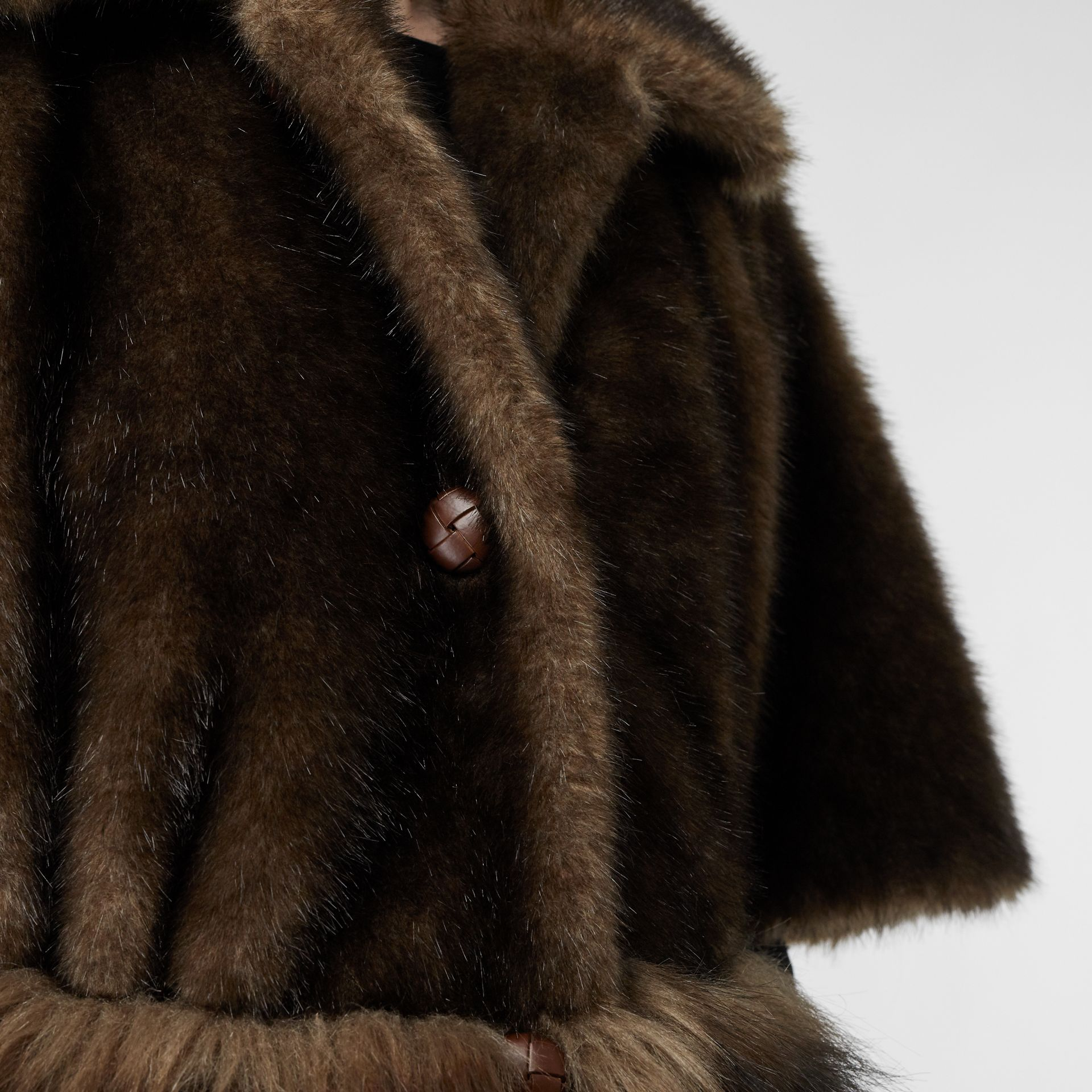 Faux Fur Cape Coat in Brown - Women | Burberry - gallery image 4