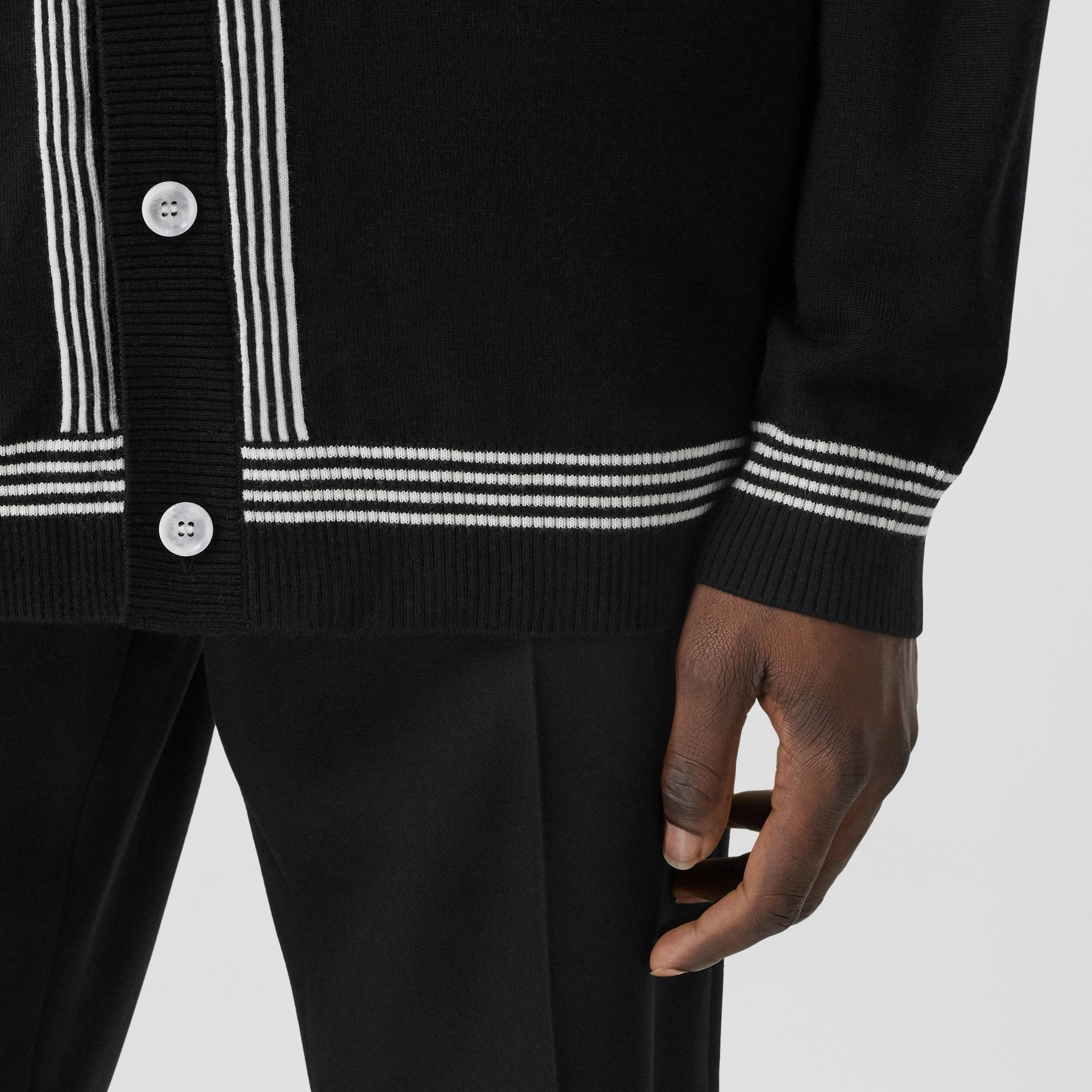 Stripe Detail Merino Wool Oversized Cardigan in Black - Men | Burberry - gallery image 4