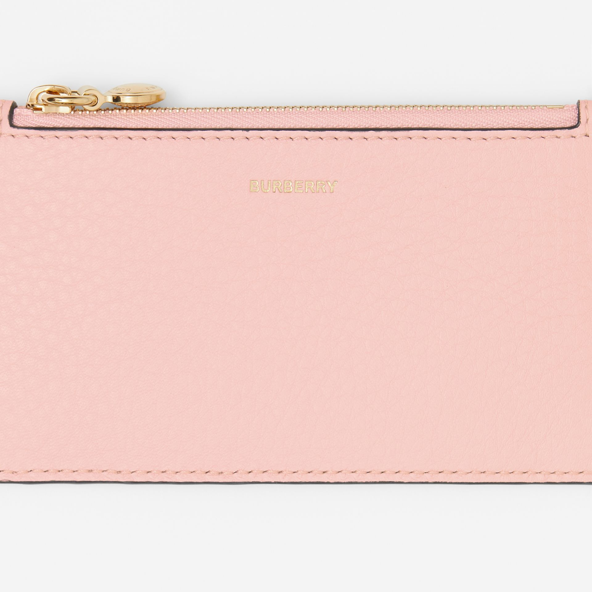 Leather Zip Card Case in Pale Ash Rose - Women | Burberry - gallery image 1