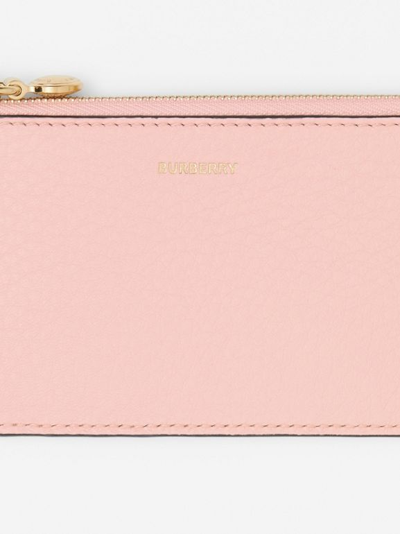 Leather Zip Card Case in Pale Ash Rose - Women | Burberry - cell image 1