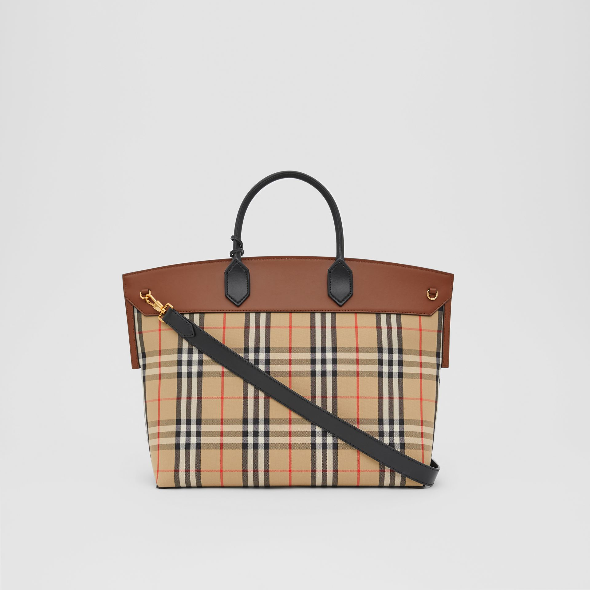 Vintage Check and Leather Society Top Handle Bag in Archive Beige/tan - Women | Burberry United Kingdom - gallery image 5