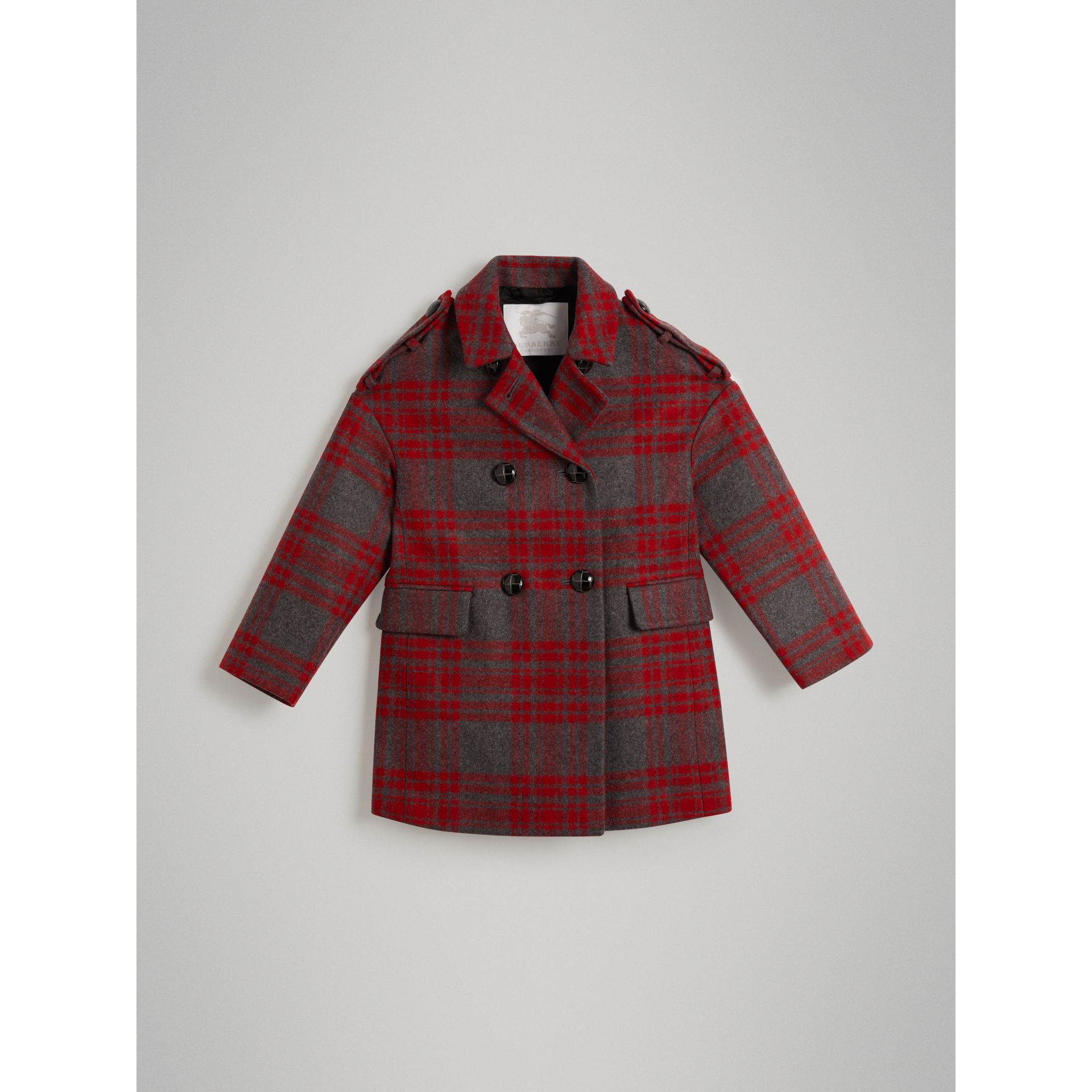 Tartan Wool Tailored Coat in Military Red - Girl | Burberry - gallery image 0