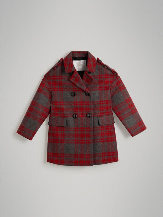 Tartan Wool Tailored Coat in Military Red