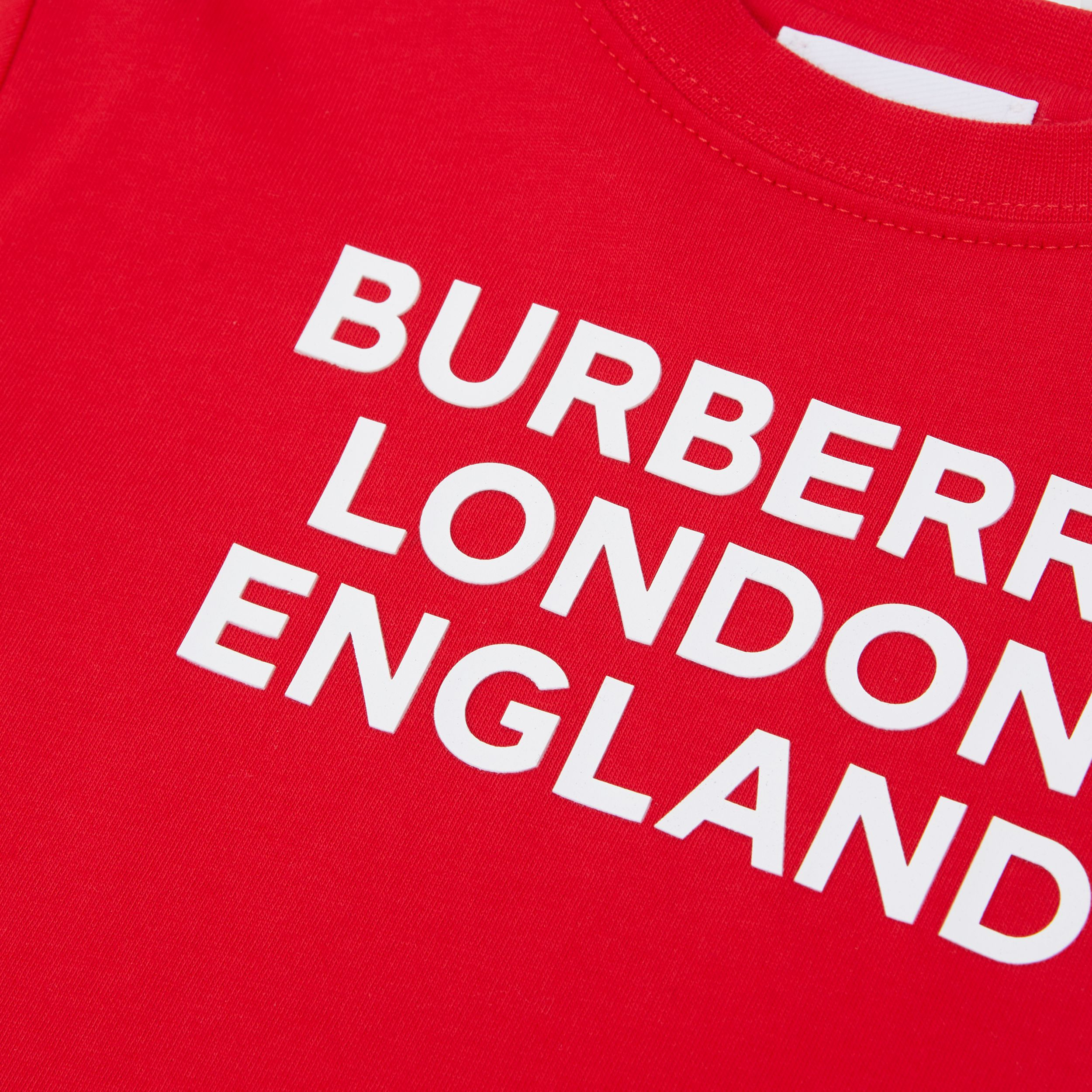 Logo Print Cotton T-shirt in Bright Red - Children | Burberry Australia - 2