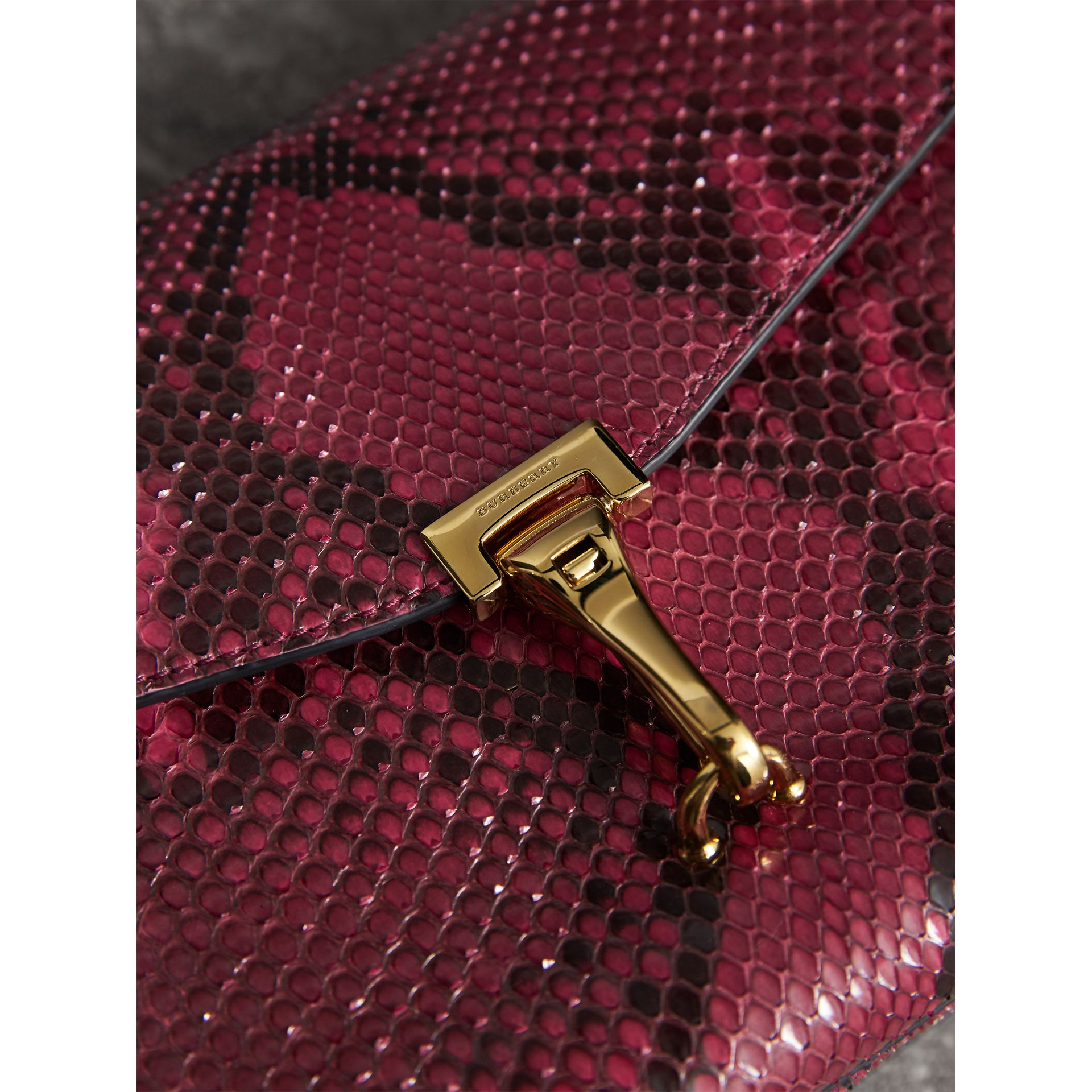 Small Python Crossbody Bag in Claret Pink - Women | Burberry - gallery image 1