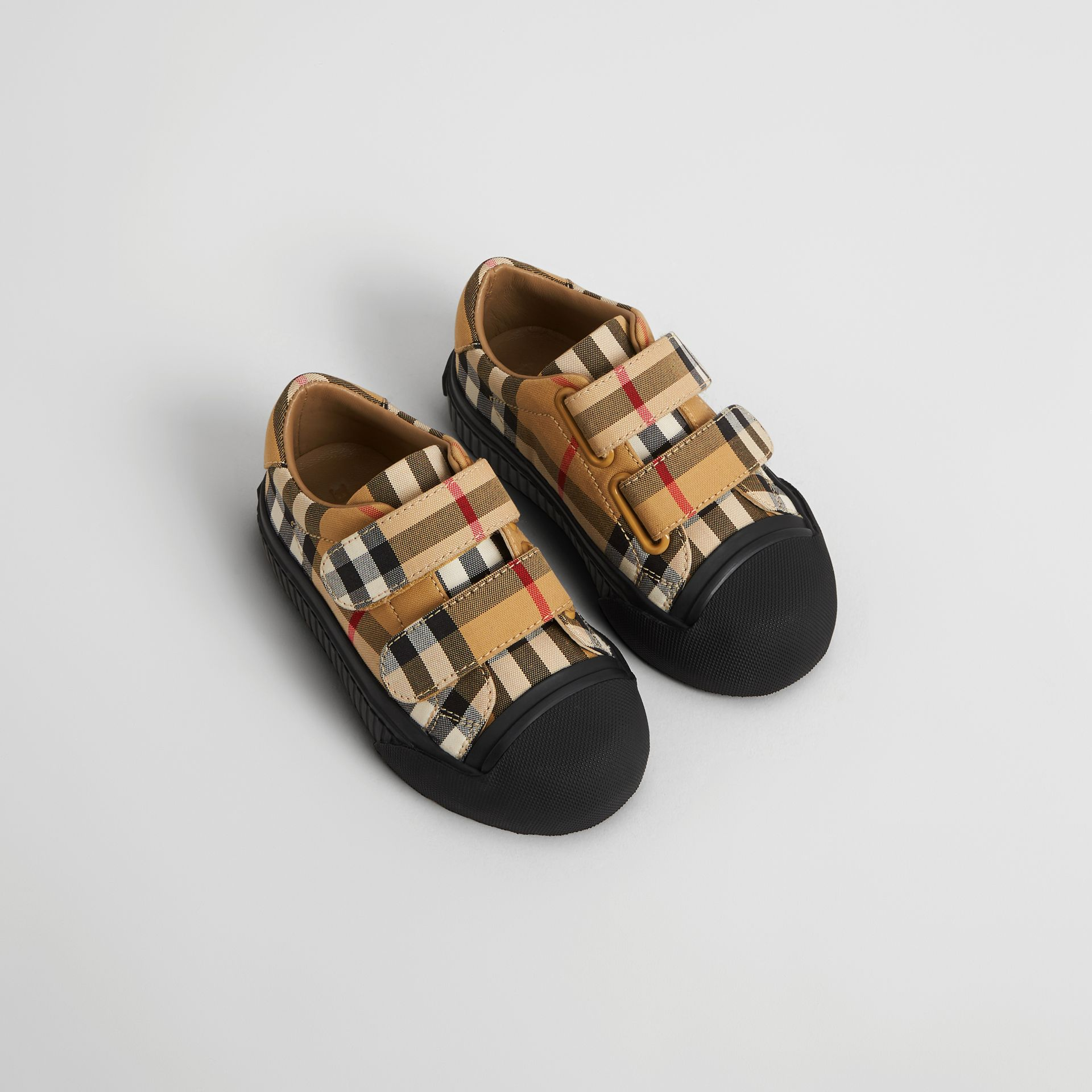 Vintage Check and Leather Sneakers in Antique Yellow/black - Children | Burberry - gallery image 0